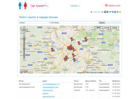 gdetualet.ru - Список бесплатных туалетов