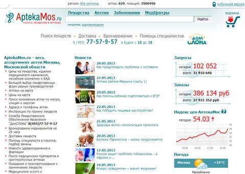 Поиск лекарств в аптеках Москвы